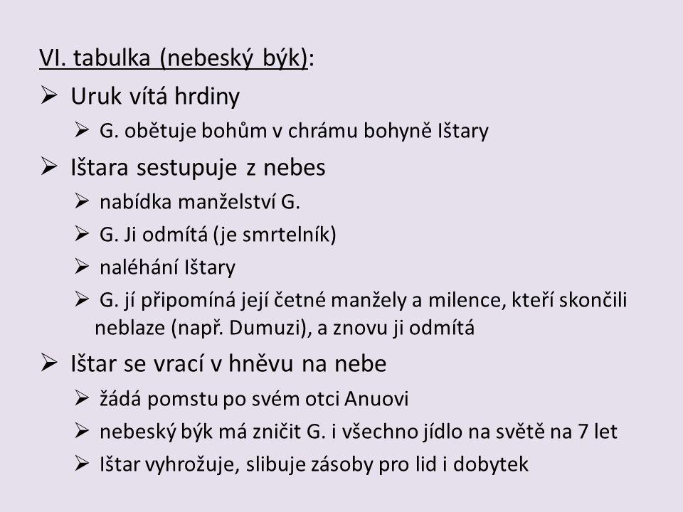 VI.tabulka (nebeský býk):  Uruk vítá hrdiny  G.