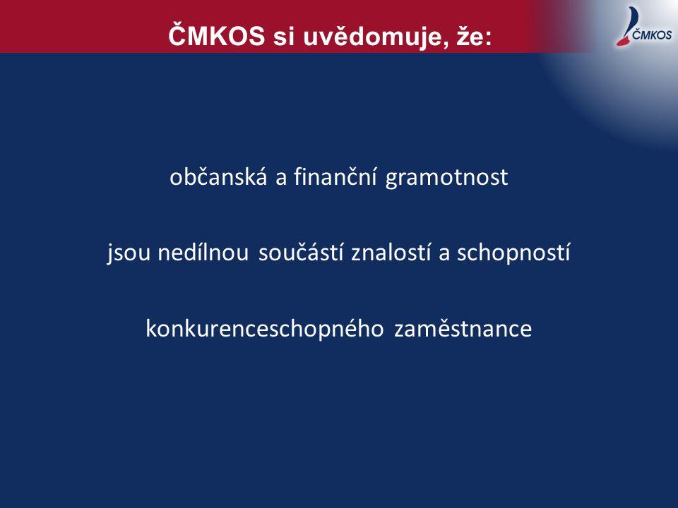 občanská a finanční gramotnost jsou nedílnou součástí znalostí a schopností konkurenceschopného zaměstnance ČMKOS si uvědomuje, že: