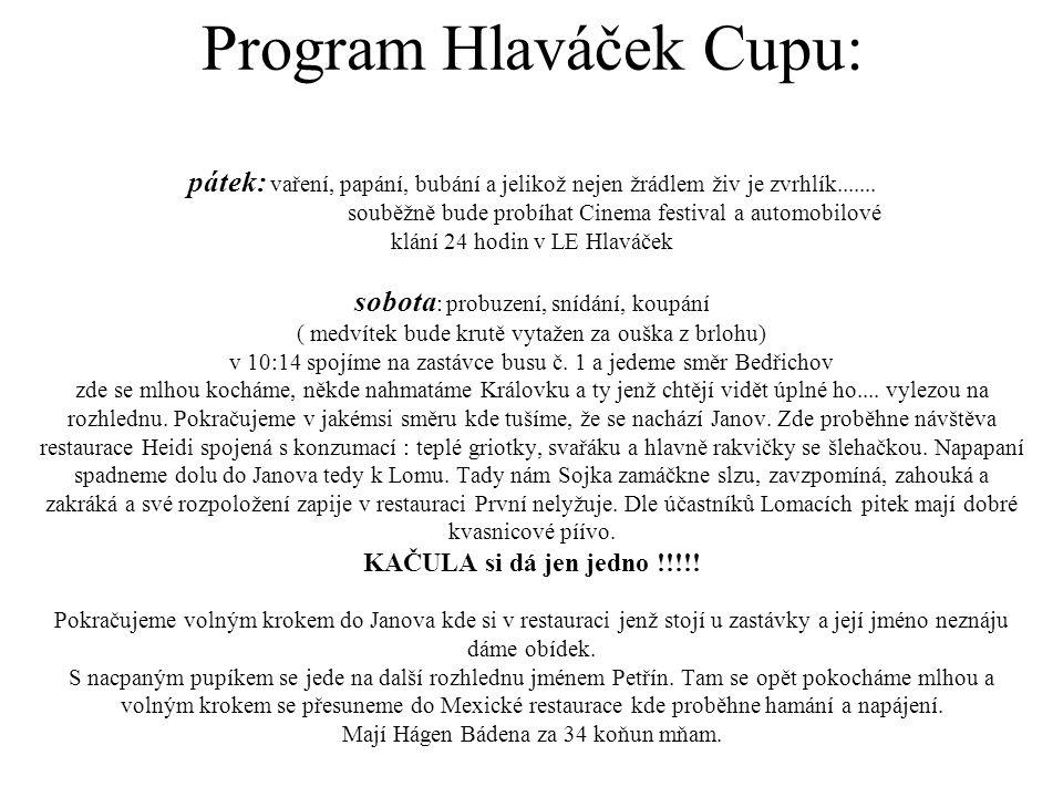 Program Hlaváček Cupu: pátek: vaření, papání, bubání a jelikož nejen žrádlem živ je zvrhlík.......
