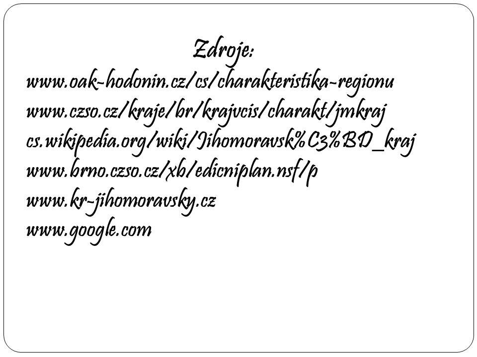 Zdroje: www.oak-hodonin.cz/cs/charakteristika-regionu www.czso.cz/kraje/br/krajvcis/charakt/jmkraj cs.wikipedia.org/wiki/Jihomoravsk%C3%BD_kraj www.br