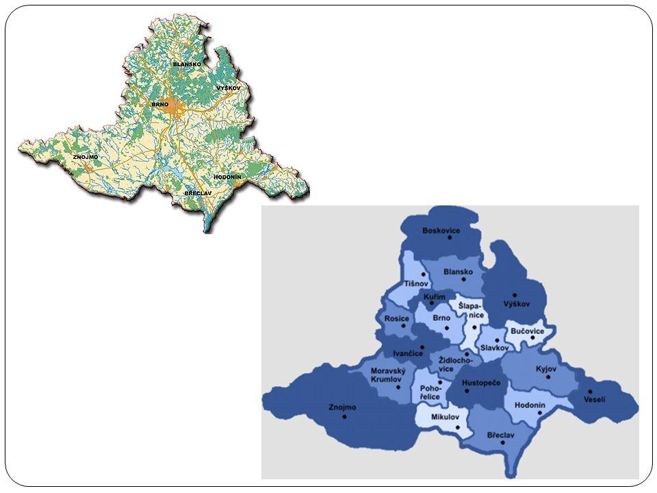 fyzicko-geografická charakteristika  48 obcí má status m ě sta.Nejv ě tší m ě sto je Brno  Kraj vznikl v r.2000, p ů vodn ě se jmenoval Brn ě nský kraj  Nejvyšší bod: Velká Javo ř ina (970 m.