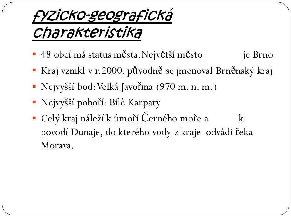 fyzicko-geografická charakteristika  48 obcí má status m ě sta.Nejv ě tší m ě sto je Brno  Kraj vznikl v r.2000, p ů vodn ě se jmenoval Brn ě nský k