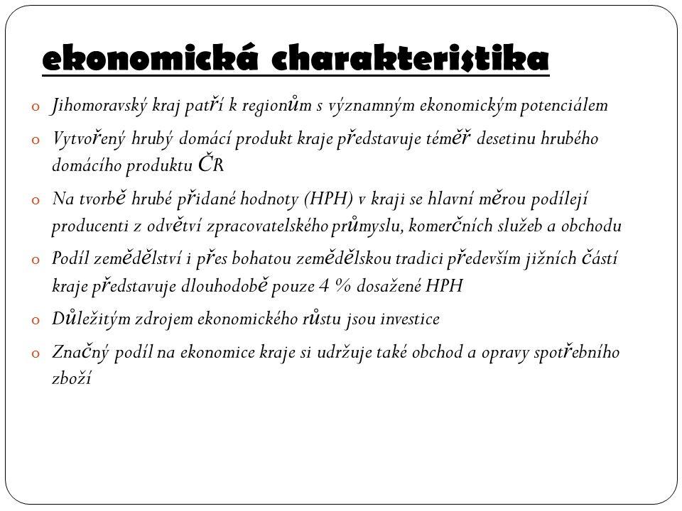 ekonomická charakteristika o Jihomoravský kraj pat ř í k region ů m s významným ekonomickým potenciálem o Vytvo ř ený hrubý domácí produkt kraje p ř e