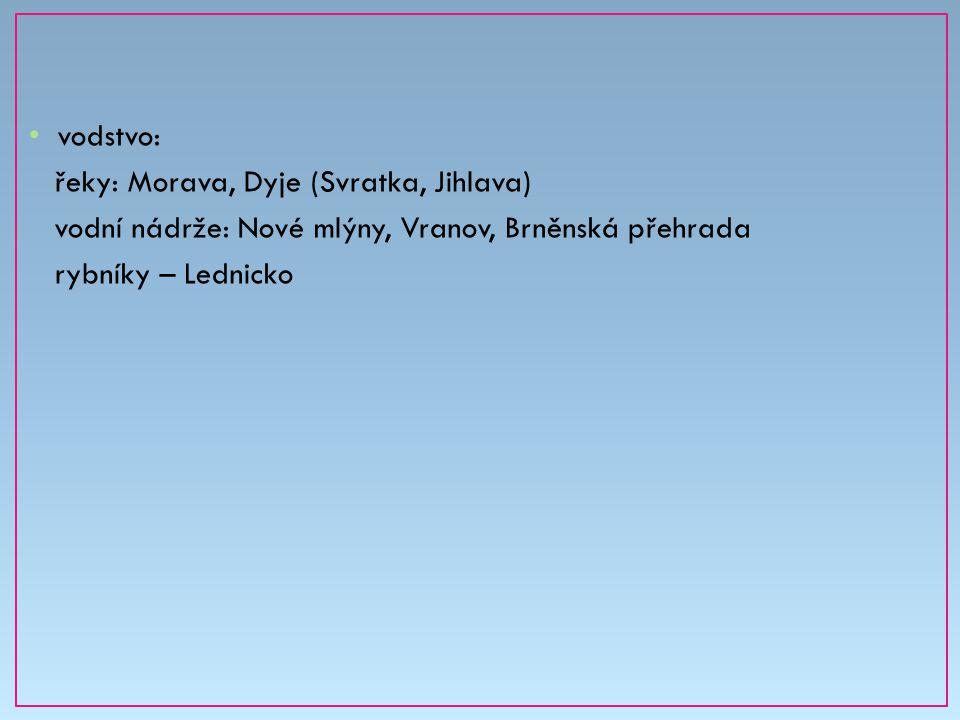 vodstvo: řeky: Morava, Dyje (Svratka, Jihlava) vodní nádrže: Nové mlýny, Vranov, Brněnská přehrada rybníky – Lednicko