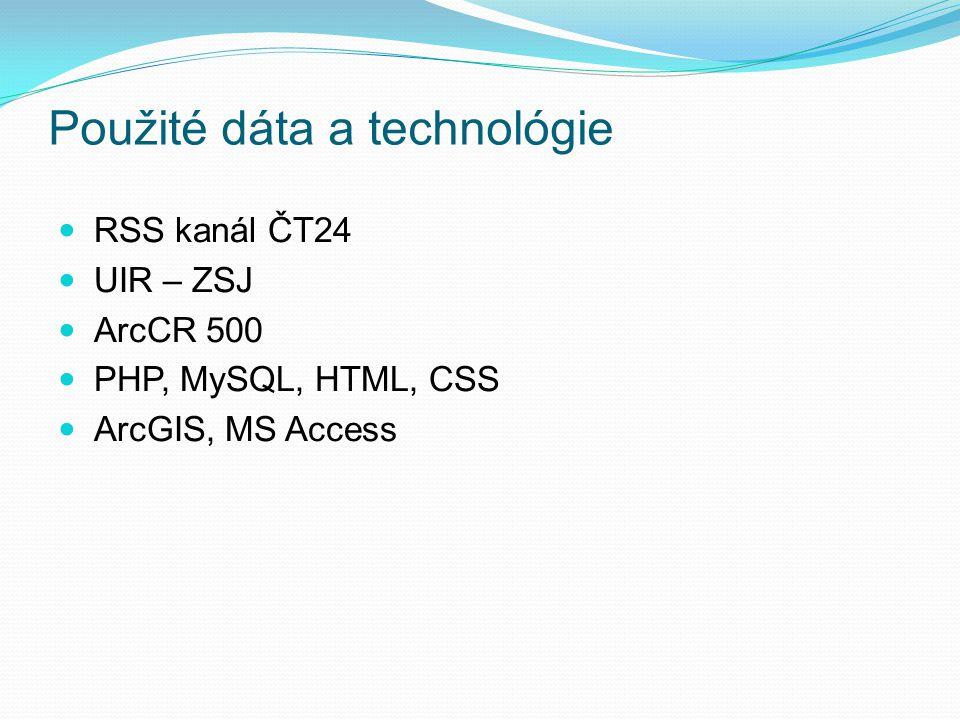 Použité dáta a technológie RSS kanál ČT24 UIR – ZSJ ArcCR 500 PHP, MySQL, HTML, CSS ArcGIS, MS Access