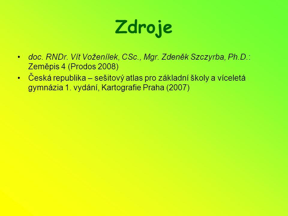 Zdroje doc. RNDr. Vít Voženílek, CSc., Mgr. Zdeněk Szczyrba, Ph.D.: Zeměpis 4 (Prodos 2008) Česká republika – sešitový atlas pro základní školy a více