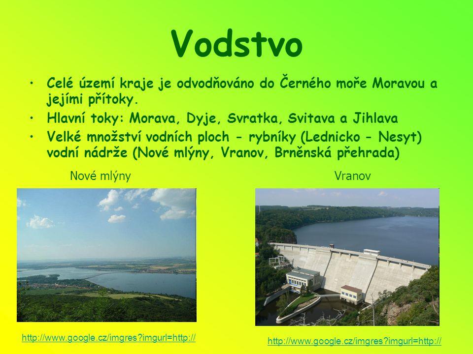Vodstvo Celé území kraje je odvodňováno do Černého moře Moravou a jejími přítoky. Hlavní toky: Morava, Dyje, Svratka, Svitava a Jihlava Velké množství