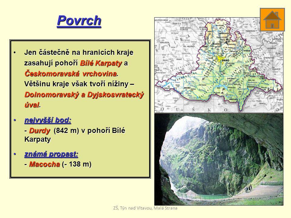Povrch Jen částečně na hranicích krajeJen částečně na hranicích kraje zasahují pohoří Bílé Karpaty a Českomoravská vrchovina. Většinu kraje však tvoří