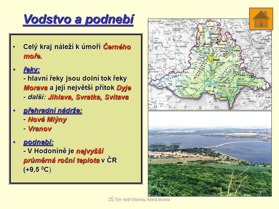 Vodstvo a podnebí Celý kraj náleží k úmoří ČernéhoCelý kraj náleží k úmoří Černéhomoře. řeky:řeky: - hlavní řeky jsou dolní tok řeky Morava a její nej