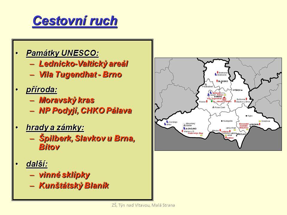 Cestovní ruch Památky UNESCO:Památky UNESCO: –Lednicko-Valtický areál –Vila Tugendhat - Brno příroda:příroda: –Moravský kras –NP Podyjí, CHKO Pálava h
