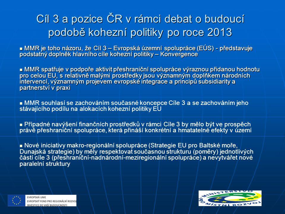 Cíl 3 a pozice ČR v rámci debat o budoucí podobě kohezní politiky po roce 2013 MMR je toho názoru, že Cíl 3 – Evropská územní spolupráce (EÚS) - předs