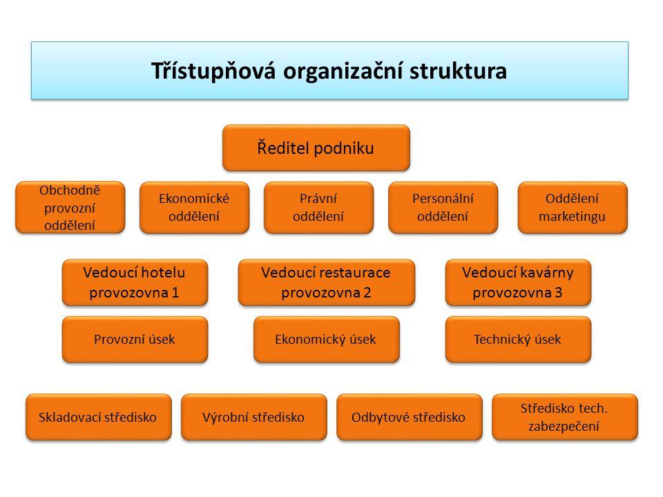 Třístupňová organizační struktura Ředitel podniku Obchodně provozní oddělení Ekonomické oddělení Právní oddělení Personální oddělení Oddělení marketin