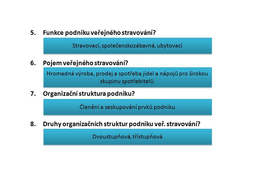 5.Funkce podniku veřejného stravování? 6.Pojem veřejného stravování? 7.Organizační struktura podniku? 8.Druhy organizačních struktur podniku veř. stra