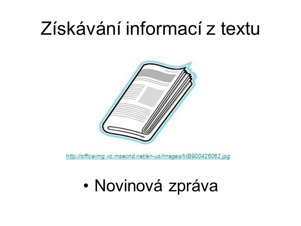 Získávání informací z textu Novinová zpráva http://officeimg.vo.msecnd.net/en-us/images/MB900426062.jpg
