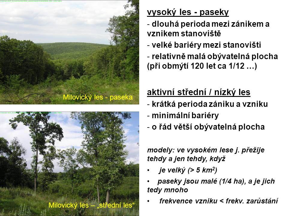 """Milovický les - paseka Milovický les – """"střední les vysoký les - paseky - dlouhá perioda mezi zánikem a vznikem stanoviště - velké bariéry mezi stanovišti - relativně malá obývatelná plocha (při obmýtí 120 let ca 1/12 …) aktivní střední / nízký les - krátká perioda zániku a vzniku - minimální bariéry - o řád větší obývatelná plocha modely: ve vysokém lese j."""