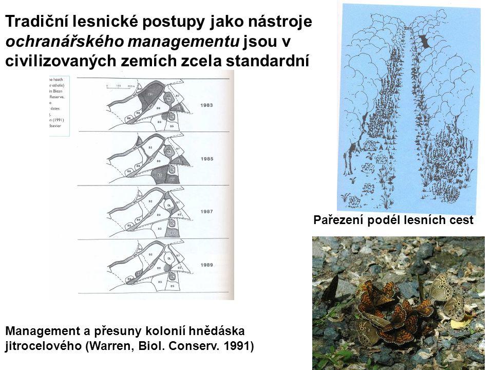 Tradiční lesnické postupy jako nástroje ochranářského managementu jsou v civilizovaných zemích zcela standardní Management a přesuny kolonií hnědáska jitrocelového (Warren, Biol.