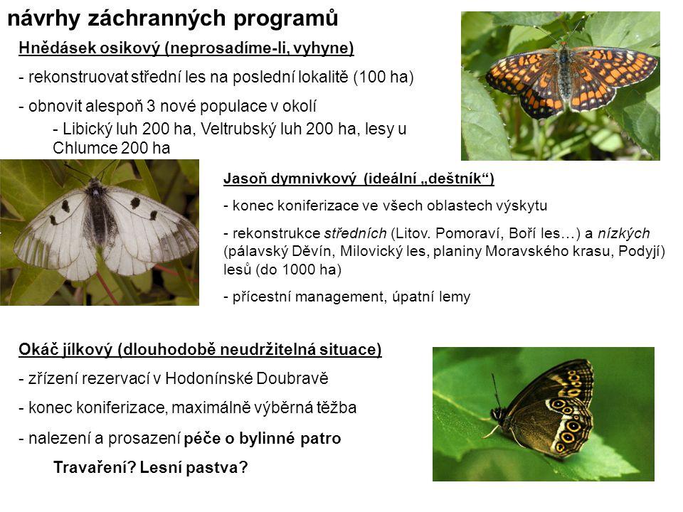 Hnědásek osikový (neprosadíme-li, vyhyne) - rekonstruovat střední les na poslední lokalitě (100 ha) - obnovit alespoň 3 nové populace v okolí - Libick