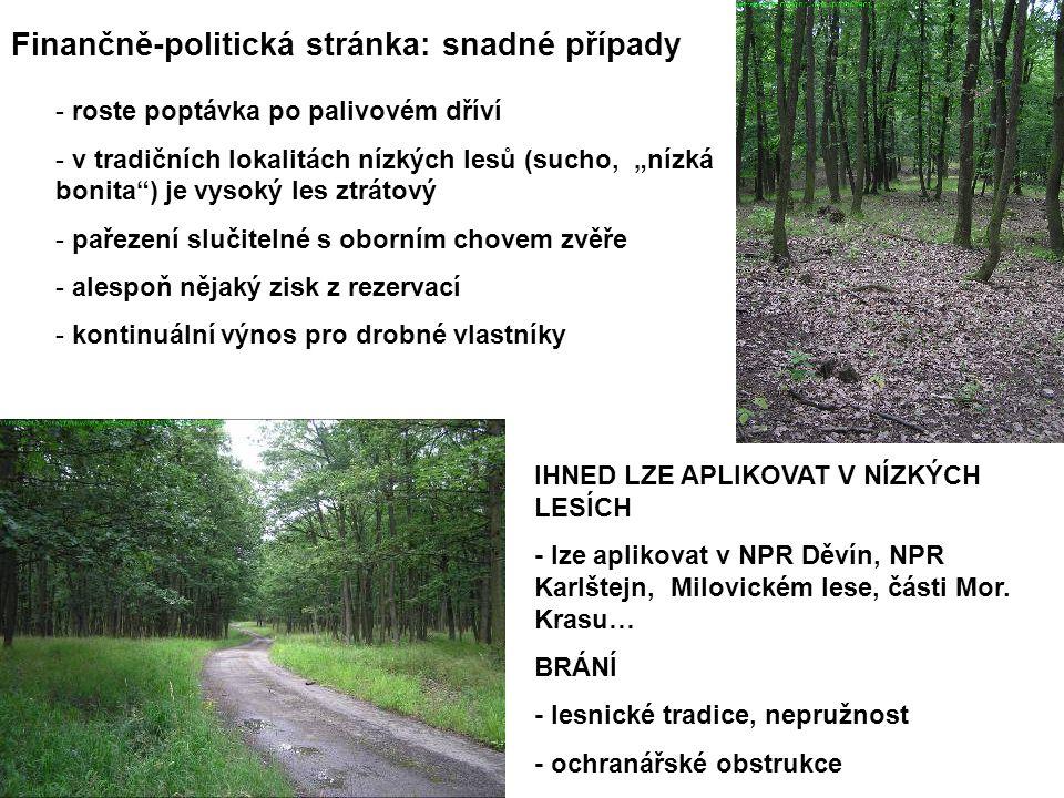 """Finančně-politická stránka: snadné případy - roste poptávka po palivovém dříví - v tradičních lokalitách nízkých lesů (sucho, """"nízká bonita ) je vysoký les ztrátový - pařezení slučitelné s oborním chovem zvěře - alespoň nějaký zisk z rezervací - kontinuální výnos pro drobné vlastníky IHNED LZE APLIKOVAT V NÍZKÝCH LESÍCH - lze aplikovat v NPR Děvín, NPR Karlštejn, Milovickém lese, části Mor."""