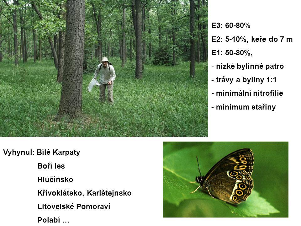E3: 60-80% E2: 5-10%, keře do 7 m E1: 50-80%, - nízké bylinné patro - trávy a byliny 1:1 - minimální nitrofilie - minimum stařiny Vyhynul: Bílé Karpaty Boří les Hlučínsko Křivoklátsko, Karlštejnsko Litovelské Pomoraví Polabí …