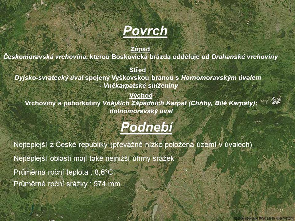 Vodstvo Vody z území jihomoravské oblasti odvádí řeka Morava a Její přítok – Dyje Svratka s přítokem řeky Svitavy, Jihlava Oslava, Haná Vodní nádrže : Nové Mlýny, Vranov, Brno, Dalašice aj.