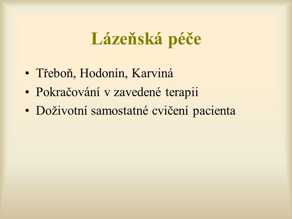 Lázeňská péče Třeboň, Hodonín, Karviná Pokračování v zavedené terapii Doživotní samostatné cvičení pacienta