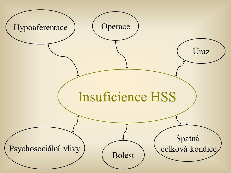 Insuficience HSS Hypoaferentace Úraz Psychosociální vlivy Bolest Špatná celková kondice Operace