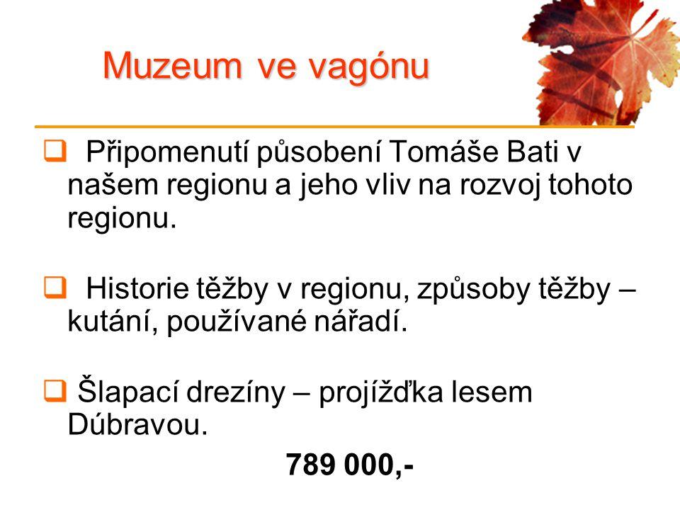 Muzeum ve vagónu  Připomenutí působení Tomáše Bati v našem regionu a jeho vliv na rozvoj tohoto regionu.  Historie těžby v regionu, způsoby těžby –