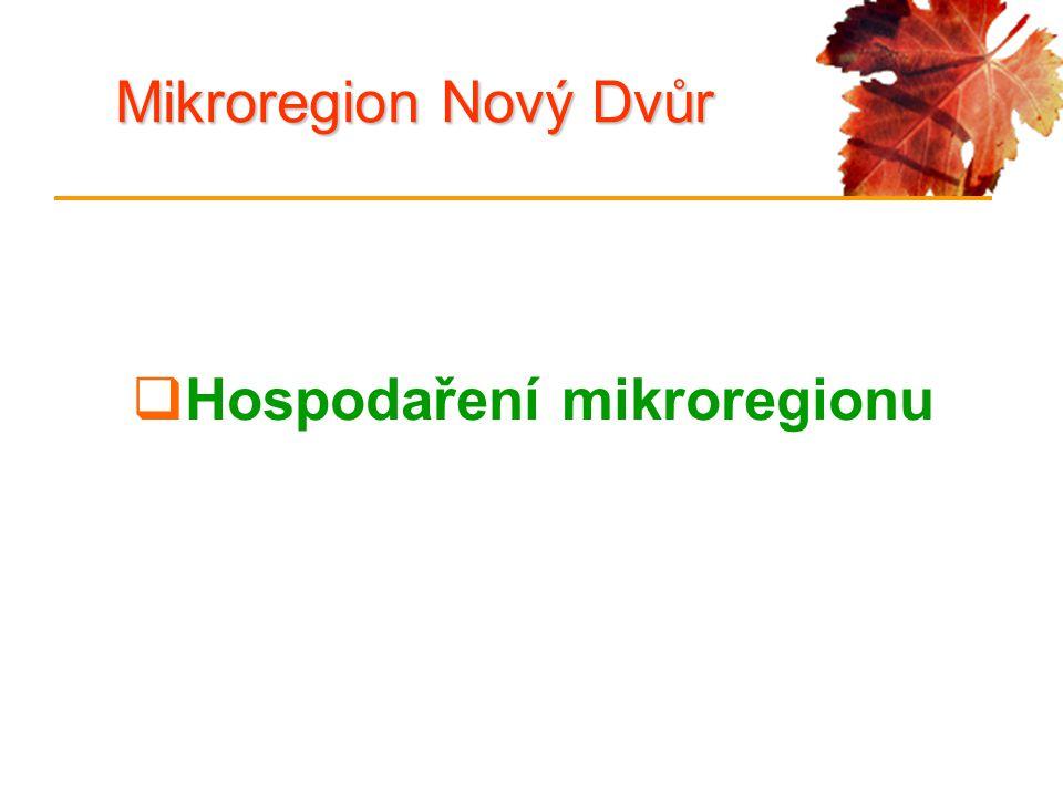 Mikroregion Nový Dvůr  Hospodaření mikroregionu