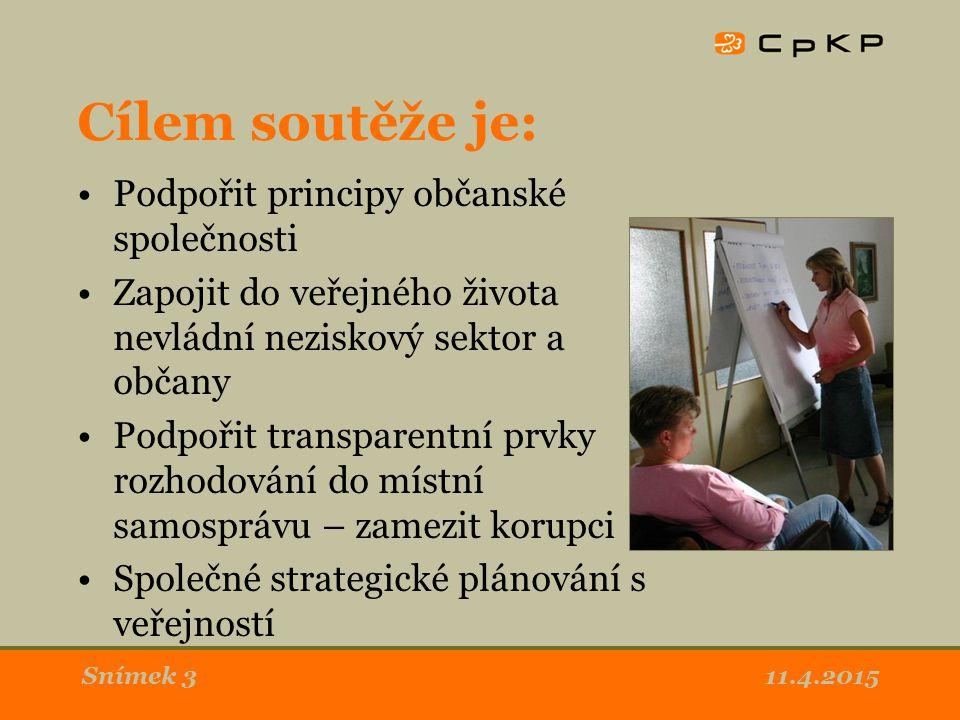 11.4.2015Snímek 3 Cílem soutěže je: Podpořit principy občanské společnosti Zapojit do veřejného života nevládní neziskový sektor a občany Podpořit transparentní prvky rozhodování do místní samosprávu – zamezit korupci Společné strategické plánování s veřejností