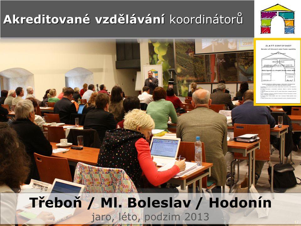 17 Akreditované vzdělávání koordinátorů Třeboň / Ml. Boleslav / Hodonín jaro, léto, podzim 2013