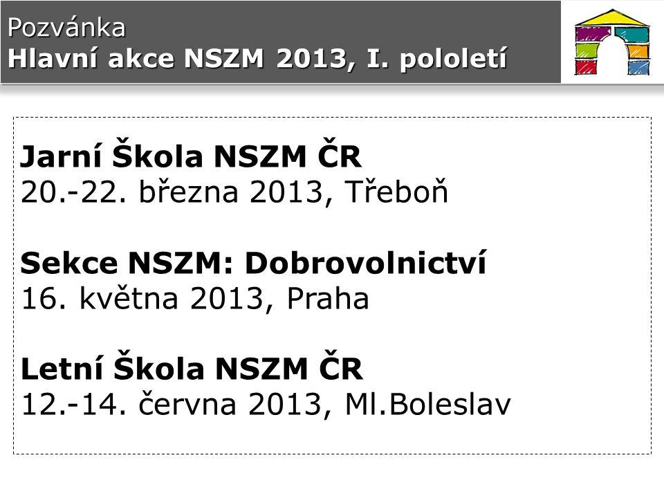 Pozvánka Hlavní akce NSZM 2013, I.pololetí Jarní Škola NSZM ČR 20.-22.