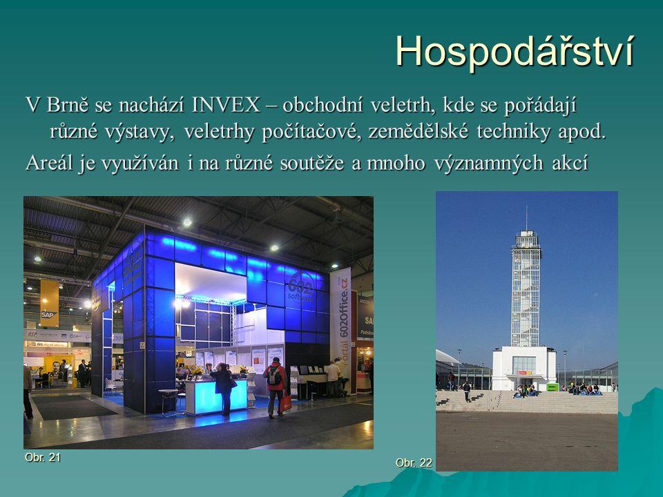 Hospodářství V Brně se nachází INVEX – obchodní veletrh, kde se pořádají různé výstavy, veletrhy počítačové, zemědělské techniky apod. Areál je využív
