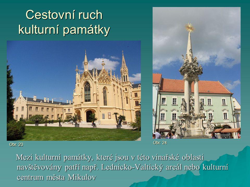 Cestovní ruch kulturní památky Mezi kulturní památky, které jsou v této vinařské oblasti navštěvovány patří např. Lednicko-Valtický areál nebo kulturn