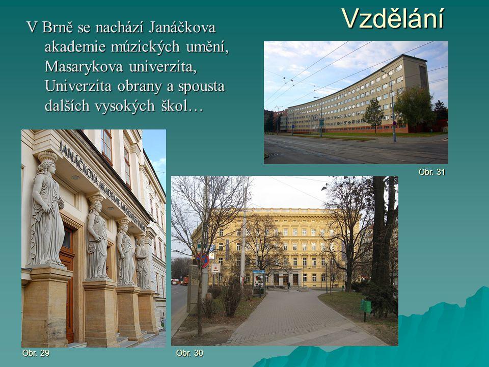 Vzdělání V Brně se nachází Janáčkova akademie múzických umění, Masarykova univerzita, Univerzita obrany a spousta dalších vysokých škol… Obr. 29 Obr.