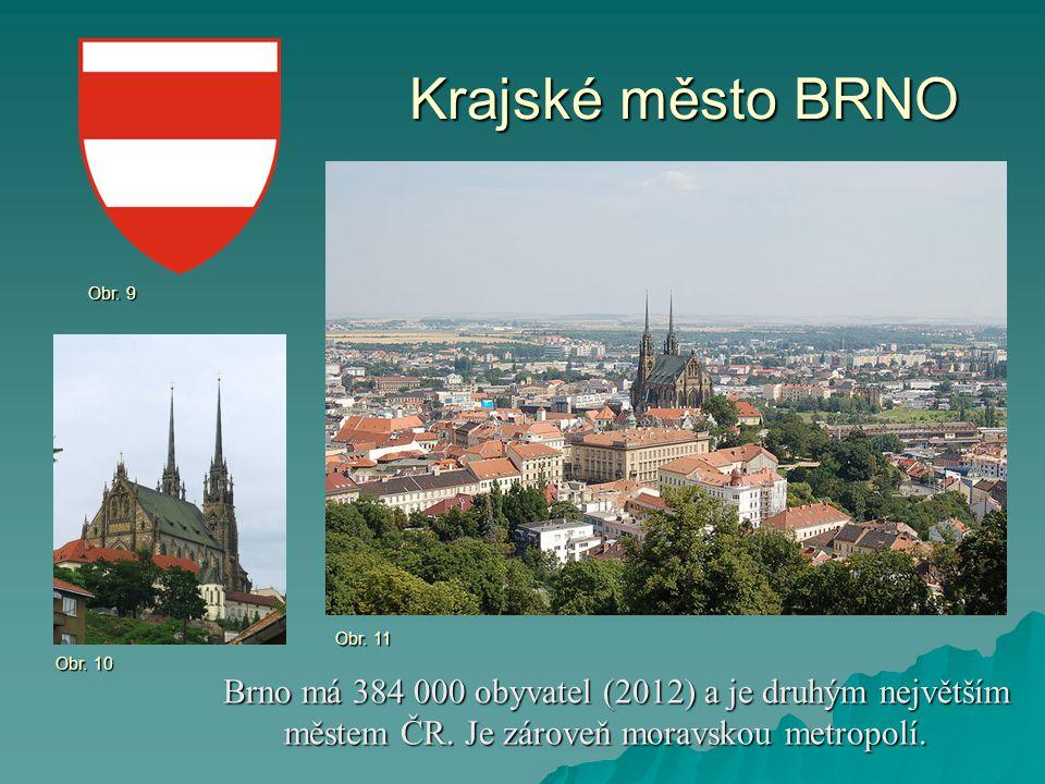 Krajské město BRNO Brno má 384 000 obyvatel (2012) a je druhým největším městem ČR. Je zároveň moravskou metropolí. Brno má 384 000 obyvatel (2012) a
