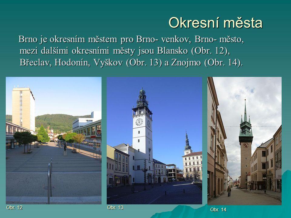 Okresní města Brno je okresním městem pro Brno- venkov, Brno- město, mezi dalšími okresními městy jsou Blansko (Obr. 12), Břeclav, Hodonín, Vyškov (Ob