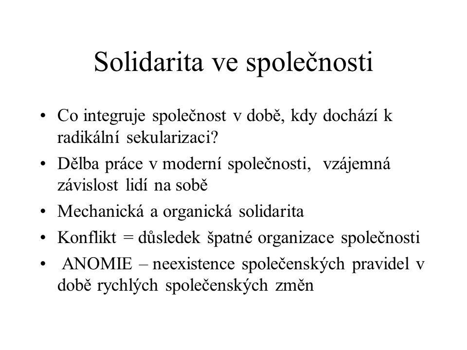 Solidarita ve společnosti Co integruje společnost v době, kdy dochází k radikální sekularizaci.
