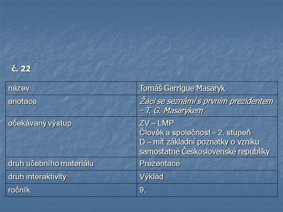 č.22 název Tomáš Garrigue Masaryk anotace Žáci se seznámí s prvním prezidentem - T.