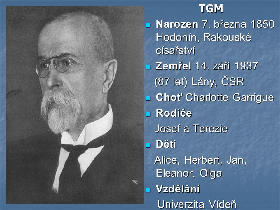 TGM Narozen 7.března 1850 Hodonín, Rakouské císařství Narozen 7.