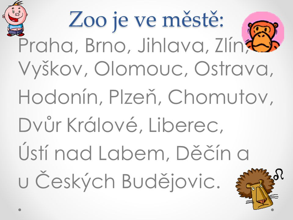 Zoo je ve městě: Praha, Brno, Jihlava, Zlín, Vyškov, Olomouc, Ostrava, Hodonín, Plzeň, Chomutov, Dvůr Králové, Liberec, Ústí nad Labem, Děčín a u Českých Budějovic.