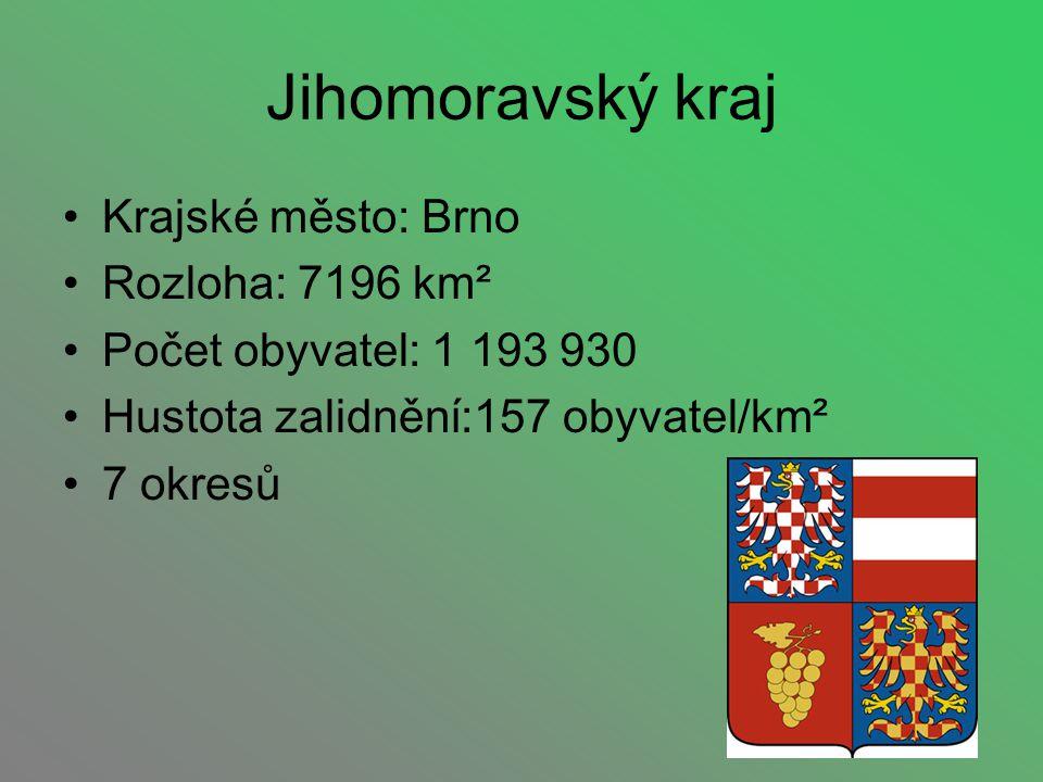 Krajské město: Brno Rozloha: 7196 km² Počet obyvatel: 1 193 930 Hustota zalidnění:157 obyvatel/km² 7 okresů