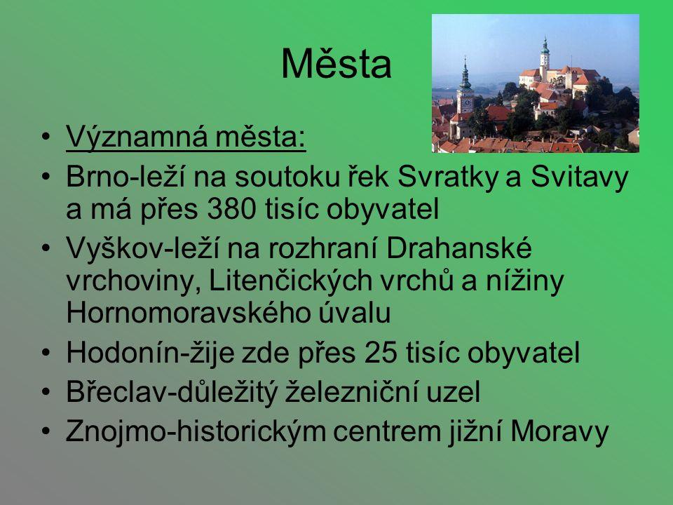 Města Významná města: Brno-leží na soutoku řek Svratky a Svitavy a má přes 380 tisíc obyvatel Vyškov-leží na rozhraní Drahanské vrchoviny, Litenčickýc