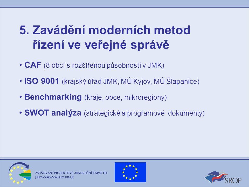 5. Zavádění moderních metod řízení ve veřejné správě CAF (8 obcí s rozšířenou působností v JMK) ISO 9001 (krajský úřad JMK, MÚ Kyjov, MÚ Šlapanice) Be