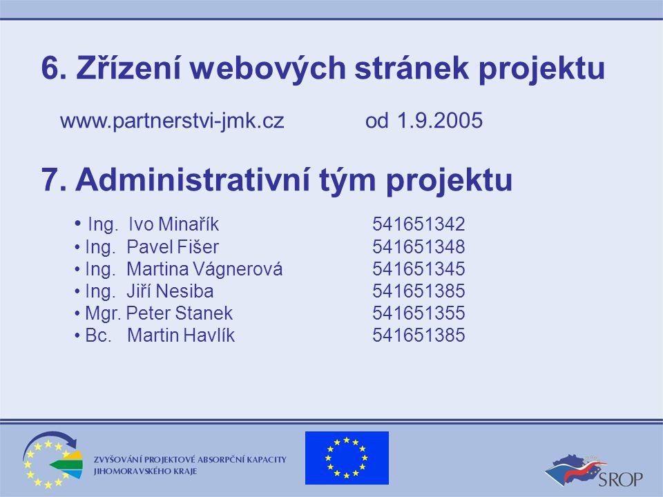 6. Zřízení webových stránek projektu www.partnerstvi-jmk.cz od 1.9.2005 7.