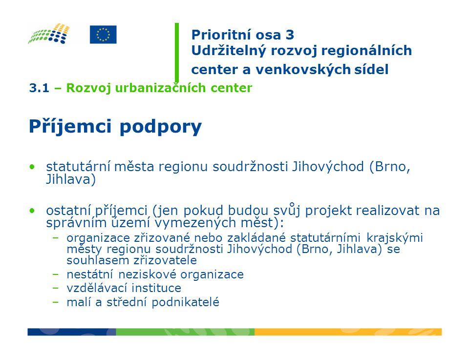 3.1 – Rozvoj urbanizačních center Příjemci podpory statutární města regionu soudržnosti Jihovýchod (Brno, Jihlava) ostatní příjemci (jen pokud budou svůj projekt realizovat na správním území vymezených měst): –organizace zřizované nebo zakládané statutárními krajskými městy regionu soudržnosti Jihovýchod (Brno, Jihlava) se souhlasem zřizovatele –nestátní neziskové organizace –vzdělávací instituce –malí a střední podnikatelé Prioritní osa 3 Udržitelný rozvoj regionálních center a venkovských sídel