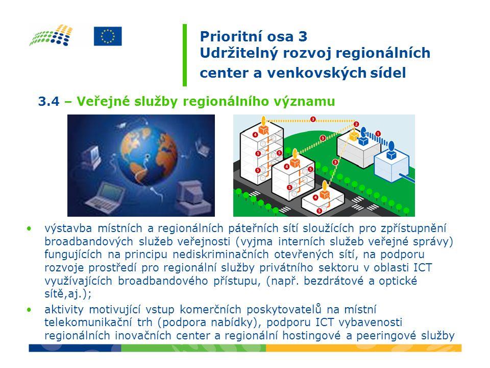 výstavba místních a regionálních páteřních sítí sloužících pro zpřístupnění broadbandových služeb veřejnosti (vyjma interních služeb veřejné správy) fungujících na principu nediskriminačních otevřených sítí, na podporu rozvoje prostředí pro regionální služby privátního sektoru v oblasti ICT využívajících broadbandového přístupu, (např.