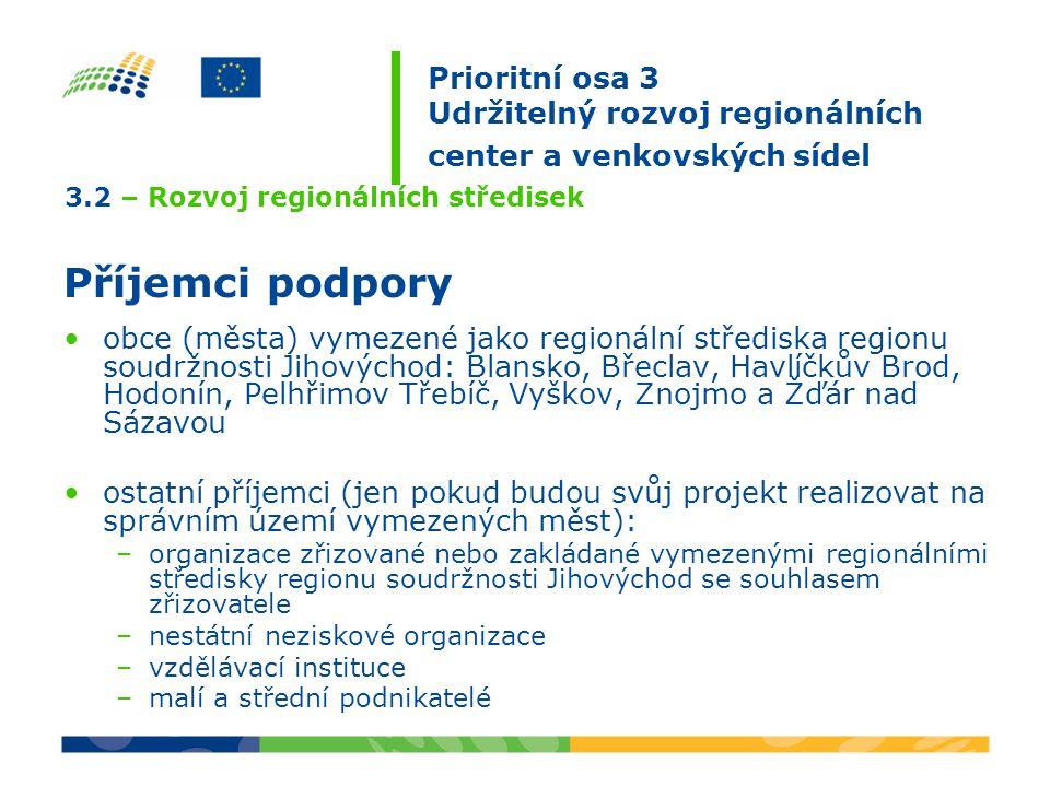 3.2 – Rozvoj regionálních středisek Příjemci podpory obce (města) vymezené jako regionální střediska regionu soudržnosti Jihovýchod: Blansko, Břeclav, Havlíčkův Brod, Hodonín, Pelhřimov Třebíč, Vyškov, Znojmo a Žďár nad Sázavou ostatní příjemci (jen pokud budou svůj projekt realizovat na správním území vymezených měst): –organizace zřizované nebo zakládané vymezenými regionálními středisky regionu soudržnosti Jihovýchod se souhlasem zřizovatele –nestátní neziskové organizace –vzdělávací instituce –malí a střední podnikatelé Prioritní osa 3 Udržitelný rozvoj regionálních center a venkovských sídel