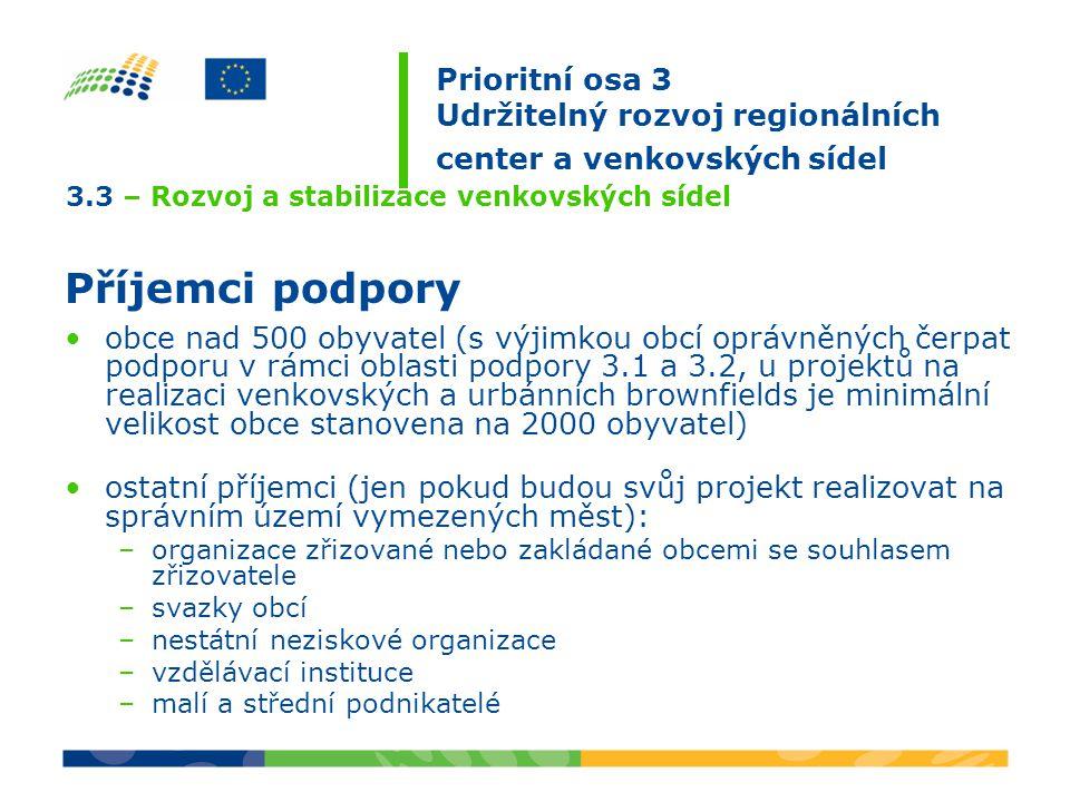 Prioritní osa 3 Udržitelný rozvoj regionálních center a venkovských sídel výstavba a technické zhodnocení infrastruktury pro rozvoj volnočasových aktivit (např.