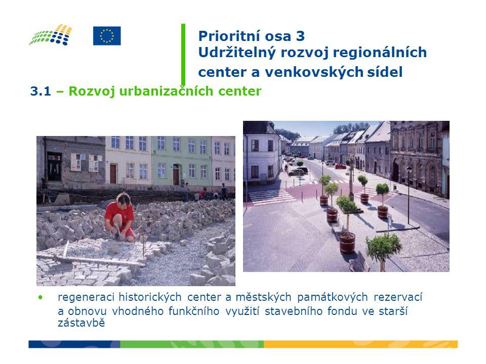 Prioritní osa 3 Udržitelný rozvoj regionálních center a venkovských sídel revitalizaci veřejných prostranství ve městech (např.: náměstí, parky, dětská hřiště včetně ploch veřejné zeleně a jiné), včetně řešení související infrastruktury 3.1 – Rozvoj urbanizačních center