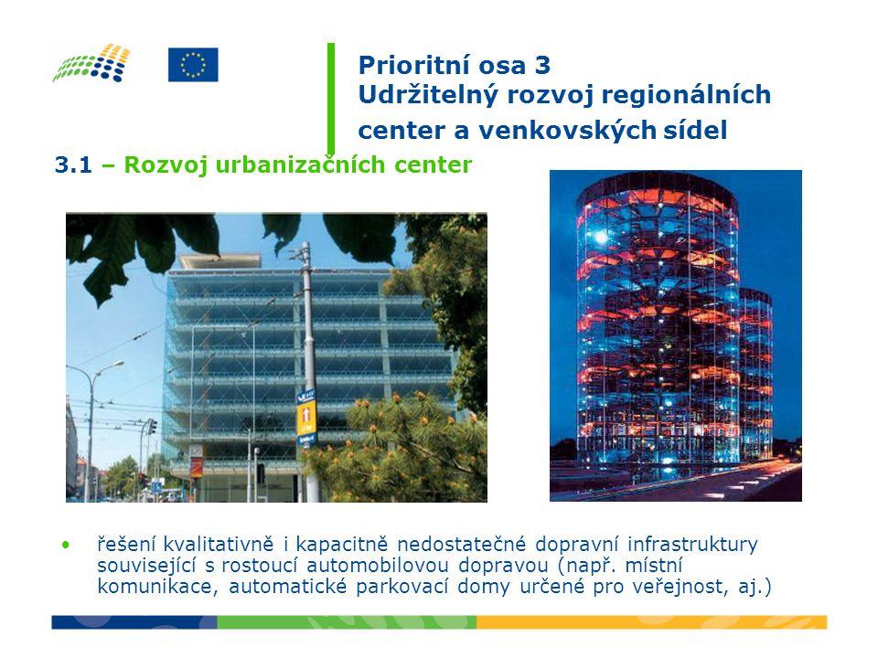 Prioritní osa 3 Udržitelný rozvoj regionálních center a venkovských sídel řešení kvalitativně i kapacitně nedostatečné dopravní infrastruktury související s rostoucí automobilovou dopravou (např.